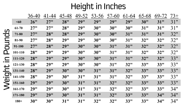 Baseball bat sizing guide
